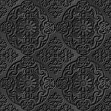 Seamless 3D elegant dark paper art pattern 100 Oval Round Flower. Antique black paper art retro abstract seamless pattern background Royalty Free Illustration