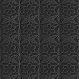 Seamless 3D elegant dark paper art pattern 251 Polygon Cross Flower Royalty Free Stock Image