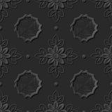 Seamless 3D elegant dark paper art pattern 260 Polygon Cross Flower Royalty Free Stock Image