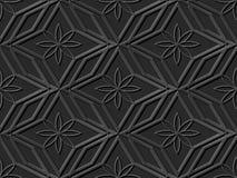 Seamless 3D elegant dark paper art pattern 293 Polygon Cross Flower Stock Image