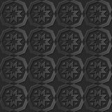Seamless 3D elegant dark paper art pattern 123 Polygon Cross Star. Antique black paper art retro abstract seamless pattern background Royalty Free Stock Photos