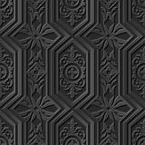 Seamless 3D elegant dark paper art pattern 202 Polygon Round Cross Leaf. Antique black paper art retro abstract seamless pattern background stock illustration