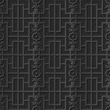 Seamless 3D elegant dark paper art pattern 287 Rectangle Flower Geometry Stock Photo