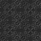 Seamless 3D elegant dark paper art pattern 070 Rose Flower Vine. Antique black paper art retro abstract seamless pattern background Royalty Free Illustration