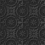 Seamless 3D elegant dark paper art pattern 105 Round Chain Flower. Antique black paper art retro abstract seamless pattern background stock illustration