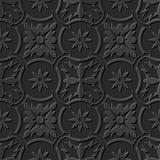 Seamless 3D elegant dark paper art pattern 105 Round Chain Flower. Antique black paper art retro abstract seamless pattern background Stock Illustration