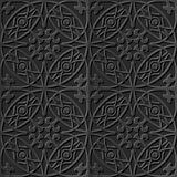 Seamless 3D elegant dark paper art pattern 111 Round Cross. Antique black paper art retro abstract seamless pattern background royalty free illustration