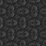 Seamless 3D elegant dark paper art pattern 052 Round Cross Flower Stock Photo