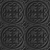 Seamless 3D elegant dark paper art pattern 085 Round Cross Flower. Antique black paper art retro abstract seamless pattern background Royalty Free Illustration