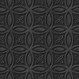 Seamless 3D elegant dark paper art pattern 177 Round Cross Flower Stock Images