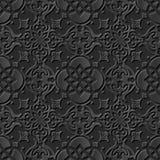 Seamless 3D elegant dark paper art pattern 226 Round Cross Flower. Antique black paper art retro abstract seamless pattern background Stock Illustration