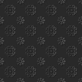 Seamless 3D elegant dark paper art pattern 264 Round Cross Flower Stock Photography