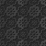 Seamless 3D elegant dark paper art pattern 271 Round Cross Flower Royalty Free Stock Image