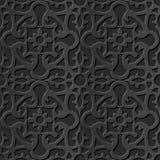 Seamless 3D elegant dark paper art pattern 149 Round Cross Flower Kaleidoscope. Antique black paper art retro abstract seamless pattern background Stock Illustration