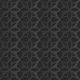 Seamless 3D elegant dark paper art pattern 104 Round Cross Geometry. Antique black paper art retro abstract seamless pattern background Stock Photography