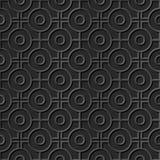 Seamless 3D elegant dark paper art pattern 283 Round Cross Geometry Royalty Free Stock Image