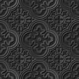 Seamless 3D elegant dark paper art pattern 024 Round Cross Kaleidoscope Royalty Free Stock Photo