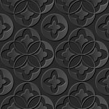 Seamless 3D elegant dark paper art pattern 179 Round Cross Leaf Royalty Free Stock Images