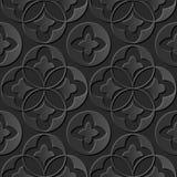 Seamless 3D elegant dark paper art pattern 179 Round Cross Leaf stock illustration