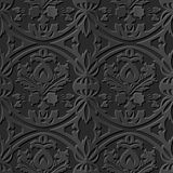 Seamless 3D elegant dark paper art pattern 183 Round Cross Leaf. Antique black paper art retro abstract seamless pattern background stock illustration