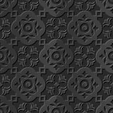 Seamless 3D elegant dark paper art pattern 225 Round Curve Cross Flower. Antique black paper art retro abstract seamless pattern background Royalty Free Illustration