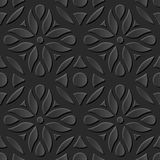 Seamless 3D elegant dark paper art pattern 189 Round Curve Flower. Antique black paper art retro abstract seamless pattern background Royalty Free Stock Photography