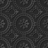 Seamless 3D elegant dark paper art pattern 265 Round Dot Cross Flower Stock Photos