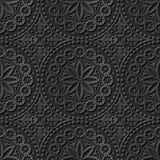 Seamless 3D elegant dark paper art pattern 136 Round Dot Flower. Antique black paper art retro abstract seamless pattern background stock illustration