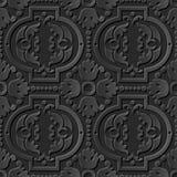 Seamless 3D elegant dark paper art pattern 213 Round Dot Flower. Antique black paper art retro abstract seamless pattern background Royalty Free Illustration