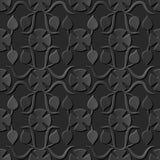 Seamless 3D elegant dark paper art pattern 069 Round Flower Curve. Antique black paper art retro abstract seamless pattern background Stock Illustration