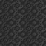 Seamless 3D elegant dark paper art pattern 081 Round Flower Vine. Antique black paper art retro abstract seamless pattern background Royalty Free Illustration