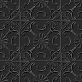 Seamless 3D elegant dark paper art pattern 107 Round Flower Vine. Antique black paper art retro abstract seamless pattern background stock illustration