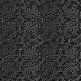 Seamless 3D elegant dark paper art pattern 235 Round Leaf Cross Flower. Antique black paper art retro abstract seamless pattern background Royalty Free Illustration