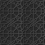 Seamless 3D elegant dark paper art pattern 339 Round Polygon Cross Stock Photos