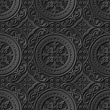Seamless 3D elegant dark paper art pattern 197 Round Spiral Flower. Antique black paper art retro abstract seamless pattern background royalty free illustration