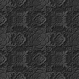 Seamless 3D elegant dark paper art pattern 257 Round Spiral Flower Stock Photo
