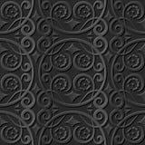 Seamless 3D elegant dark paper art pattern 037 Round Spiral Vine Flower. Antique black paper art retro abstract seamless pattern background Royalty Free Illustration