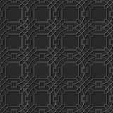 Seamless 3D elegant dark paper art pattern 320 Round Square Cross. Antique black paper art retro abstract seamless pattern background Stock Illustration