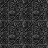 Seamless 3D elegant dark paper art pattern 113 Round Square Line. Antique black paper art retro abstract seamless pattern background Royalty Free Stock Photo