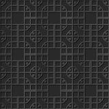 Seamless 3D elegant dark paper art pattern 290 Spiral Corner Square Cross Royalty Free Stock Images