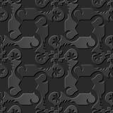 Seamless 3D elegant dark paper art pattern 082 Spiral Cross Flower Stock Photos