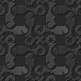 Seamless 3D elegant dark paper art pattern 082 Spiral Cross Flower. Antique black paper art retro abstract seamless pattern background Royalty Free Illustration