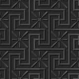 Seamless 3D elegant dark paper art pattern 165 Spiral Cross Flower Stock Photography