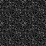 Seamless 3D elegant dark paper art pattern 184 Spiral Cross Flower Stock Images