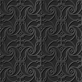 Seamless 3D elegant dark paper art pattern 192 Spiral Cross Flower Royalty Free Stock Photography