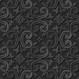 Seamless 3D elegant dark paper art pattern 194 Spiral Cross Flower Royalty Free Stock Image