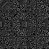 Seamless 3D elegant dark paper art pattern 249 Spiral Cross Flower Royalty Free Stock Photography