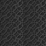Seamless 3D elegant dark paper art pattern 241 Spiral Cross Flower Lace. Antique black paper art retro abstract seamless pattern background Stock Illustration