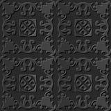 Seamless 3D elegant dark paper art pattern 075 Spiral Flower Cross. Antique black paper art retro abstract seamless pattern background Vector Illustration
