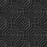 Seamless 3D elegant dark paper art pattern 296 Spiral Octagon Flower Royalty Free Stock Image
